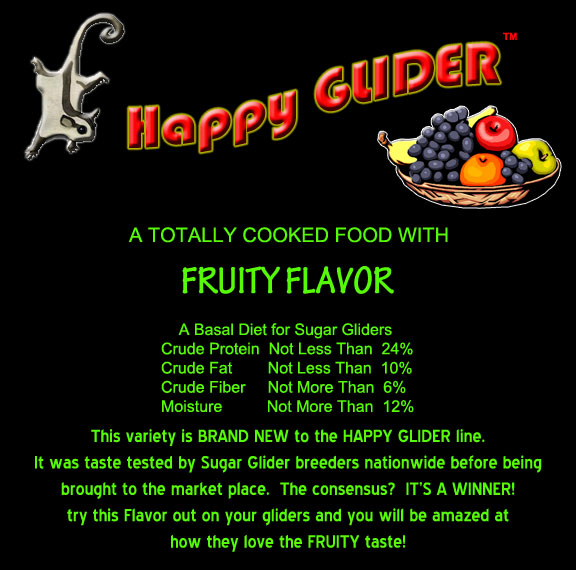 Fruity Flavor Sugar Glider Food - Happy GLIDER - HEDGEHOGS by Vickie