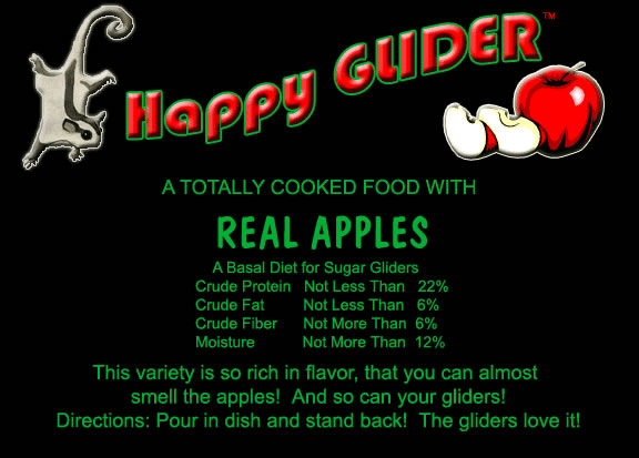 Sugar Glider food made with REAL APPLES - Happy GLIDER - HEDGEHOGS by Vickie